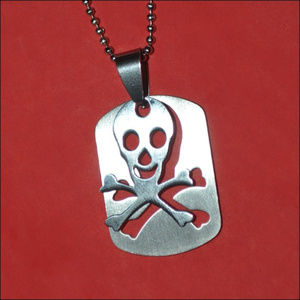 Jewelry - Silver Cutout Skull Dog Tag Necklace